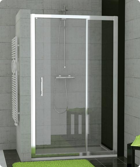 sprchová sestava RONAL TED TOP-Line TED10005007 jednokřídlé dveře+pevná stěna,100 cm, aluchrom/čiré